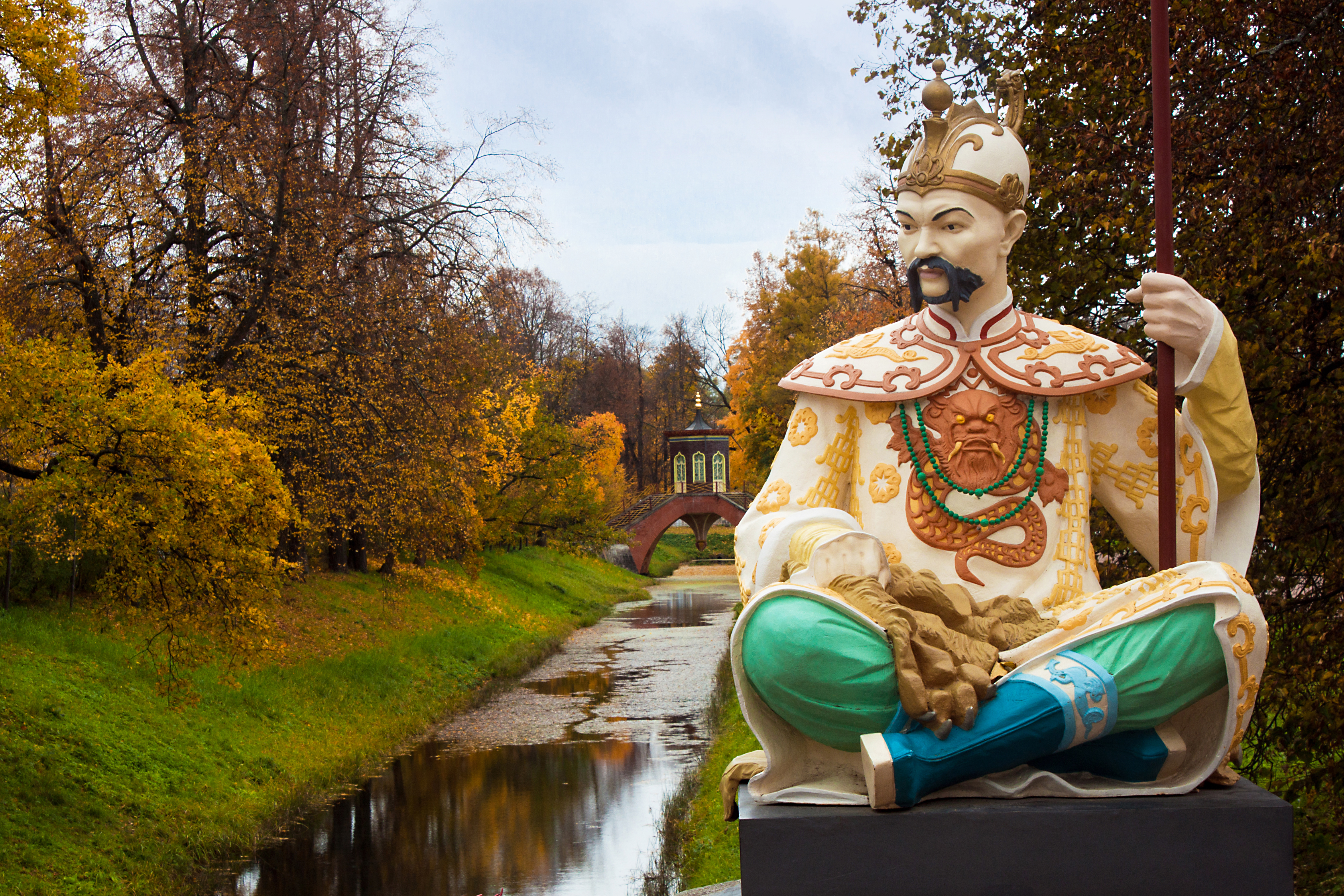 Statue on Big Chinese Bridge in Alexander`s park in Tsarskoye Selo (Pushkin)
